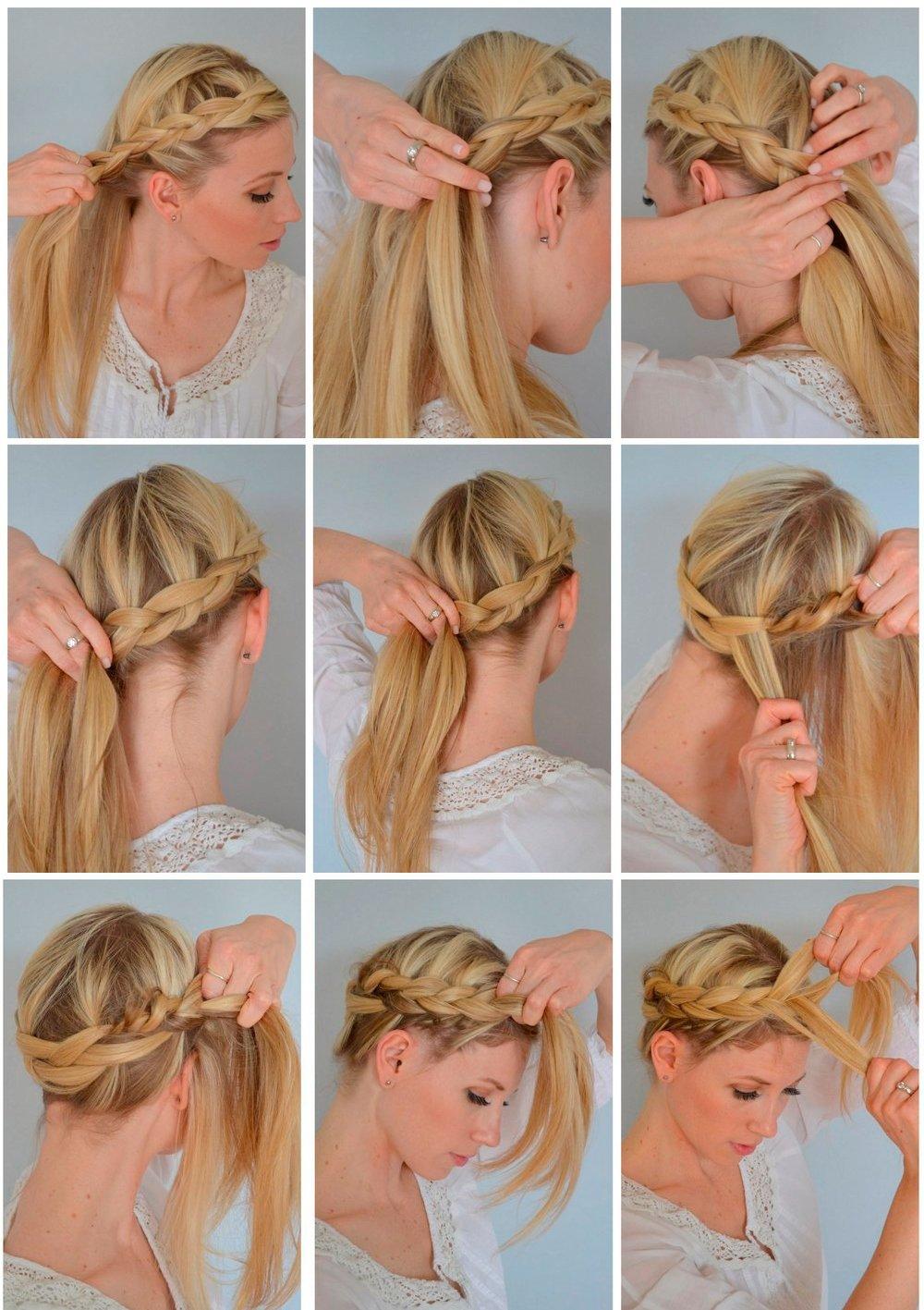 Как заплести самой себе причёску картинки
