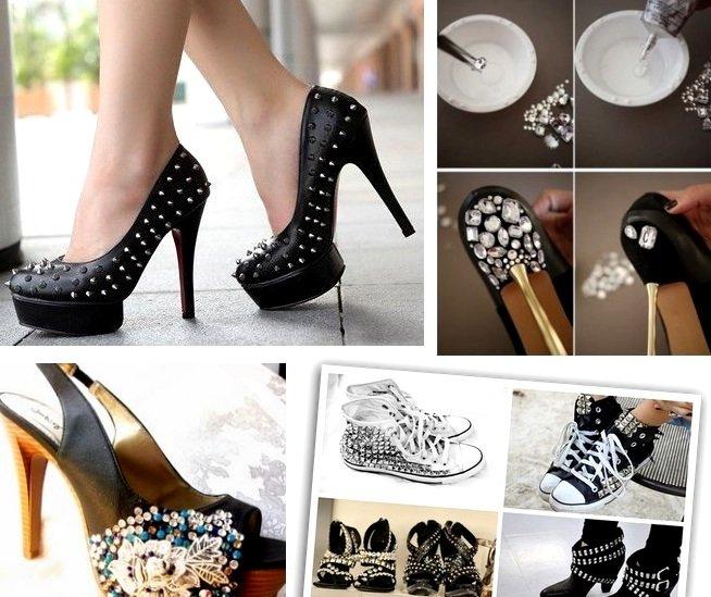 Как украсить чёрные туфли своими руками 41