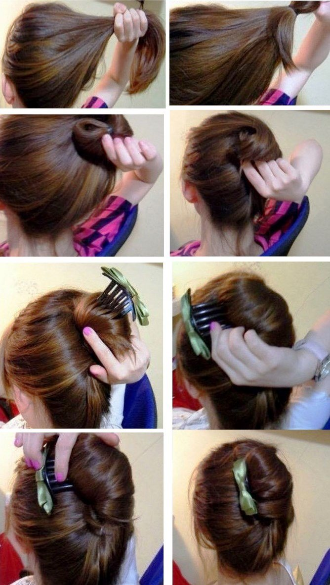 Как сделать прическу с валиком из длинных волос