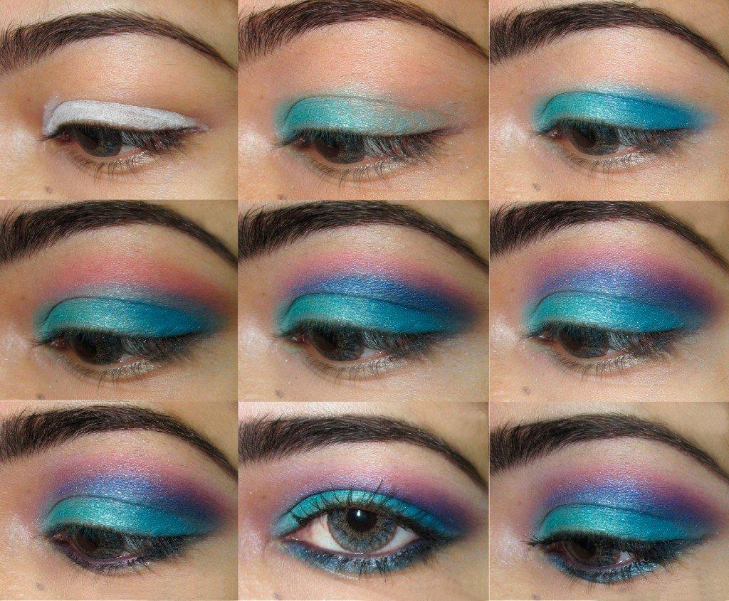 Пошаговое макияжа голубых глаз