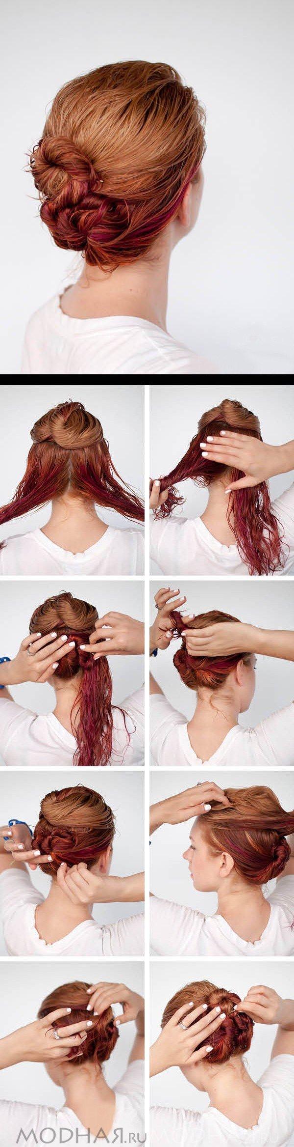 Прически для своими руками на средние волосы фото