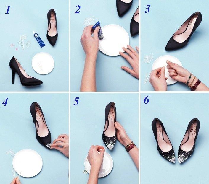Как украсить чёрные туфли своими руками 39