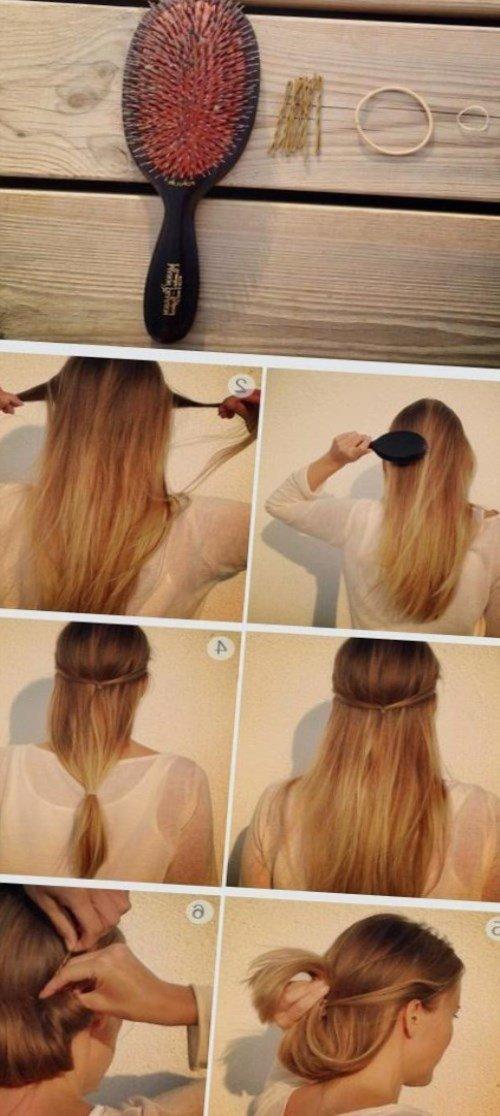 Прическа на средние волосы своими руками со шпильками