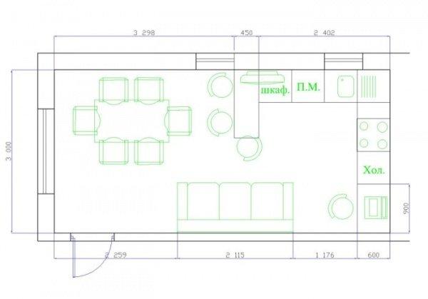 Чертежи дизайна кухни-гостиной