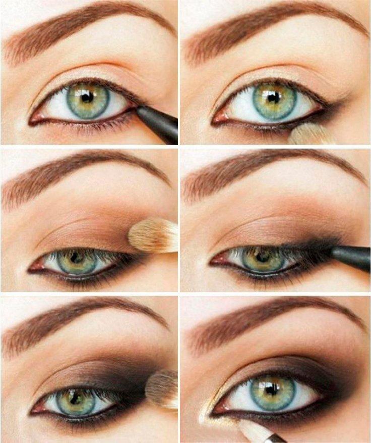 Вечерний макияж глаз с коричневыми тенями