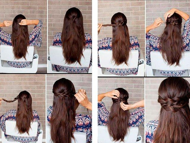 Простые причёски на длинные волосы своими руками в домашних 2