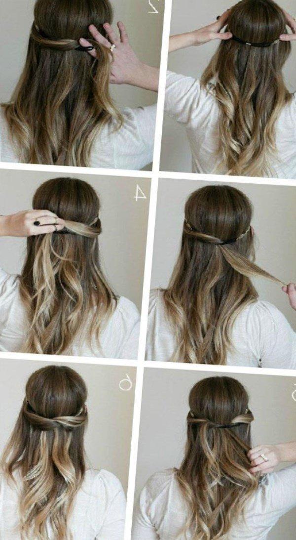 Быстрые повседневные прически для длинных волос своими руками 18