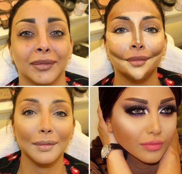Коррекция полного лица макияжем