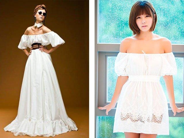 Платье своими руками с открытыми плечами на резинке 93
