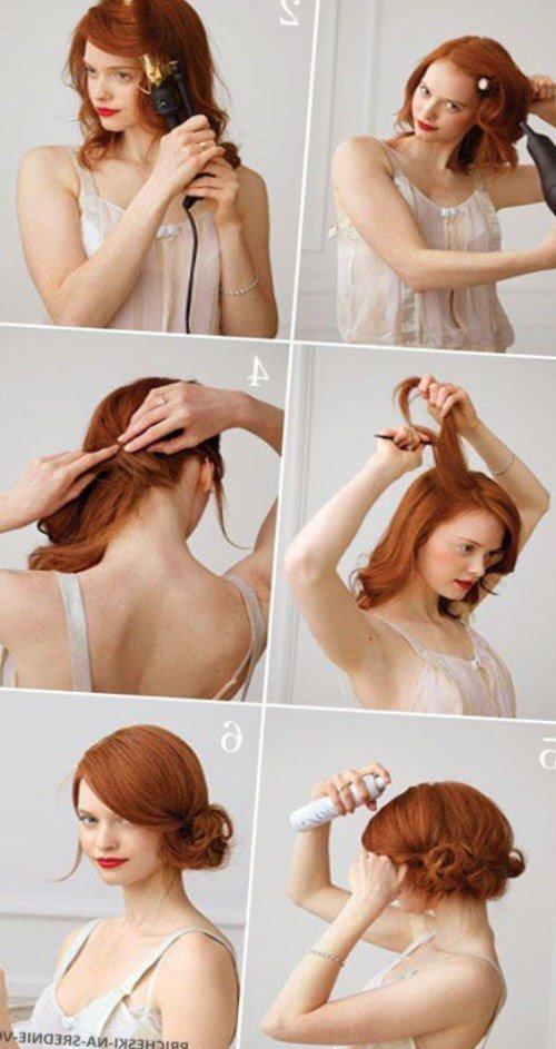 Причёски своими руками до плеч 39
