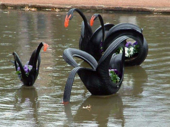 Лебеди из резиновых покрышек своими руками 77