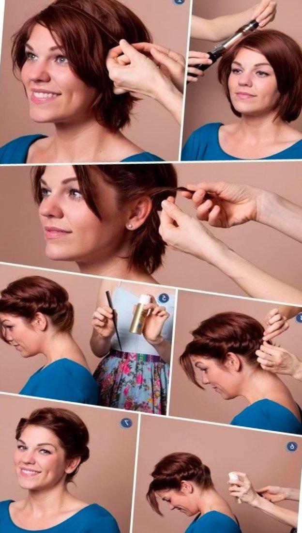Легкие прически своими руками на волосы до плеч 34