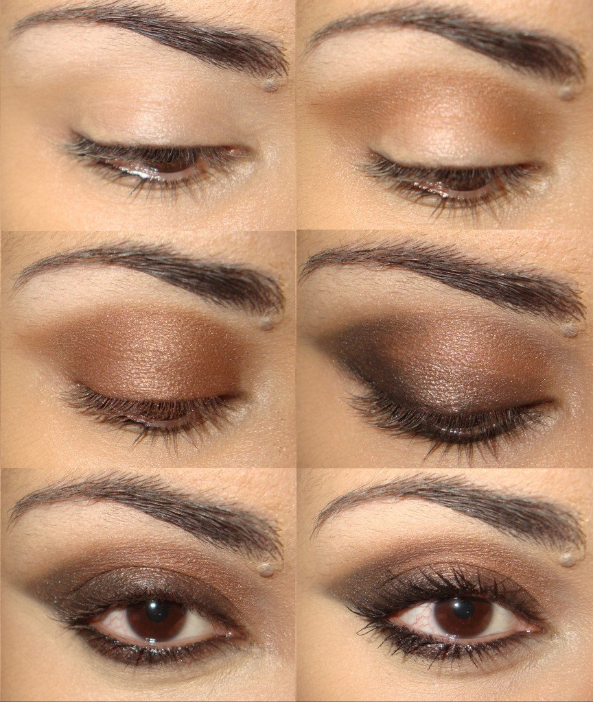 Макияж глаз белый с коричневым