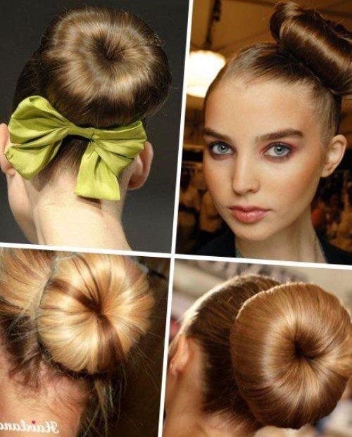 Причёска бант из волос и валик
