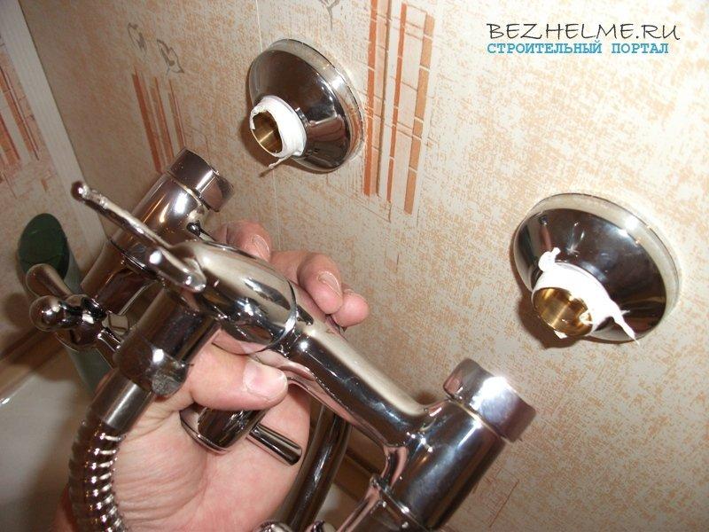 Монтаж смесителя для ванной своими руками 381