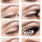 Вечерний макияж для глаз с нависшими веками пошагово