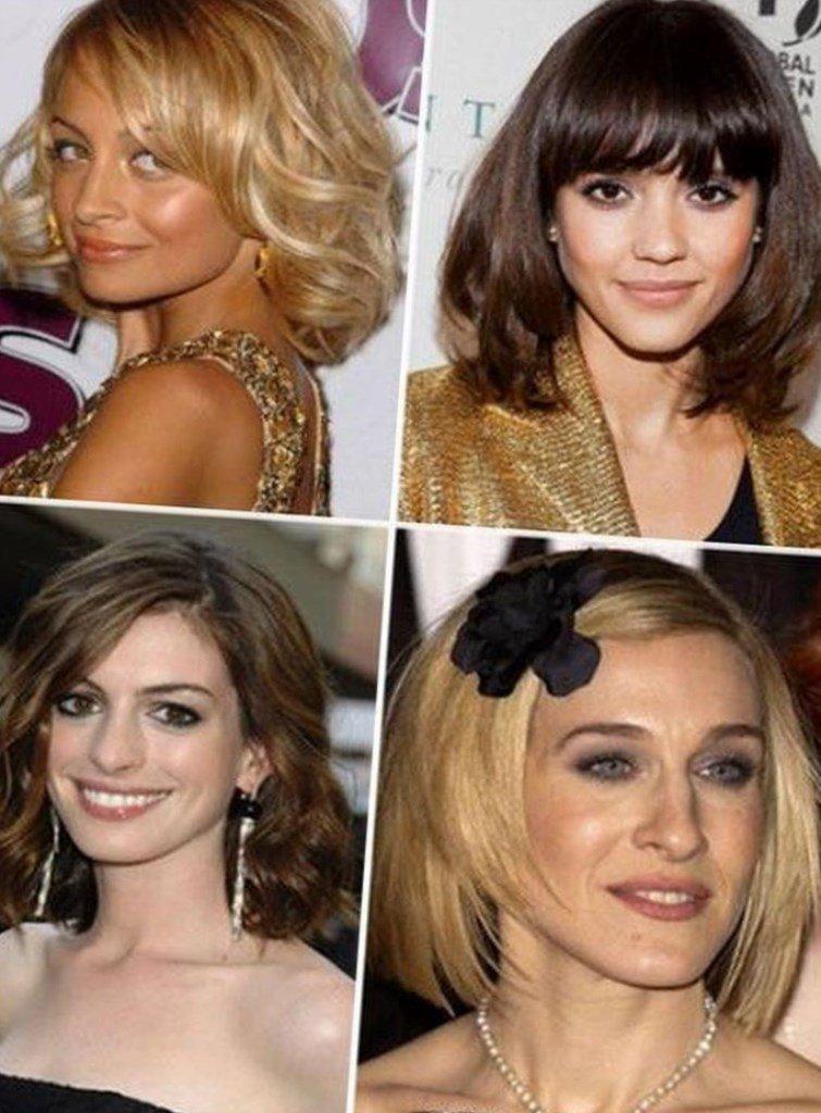 прически на средние волосы с пробором фото