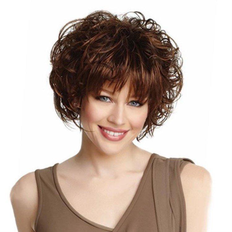 Прически на короткие вьющиеся волосы с челкой
