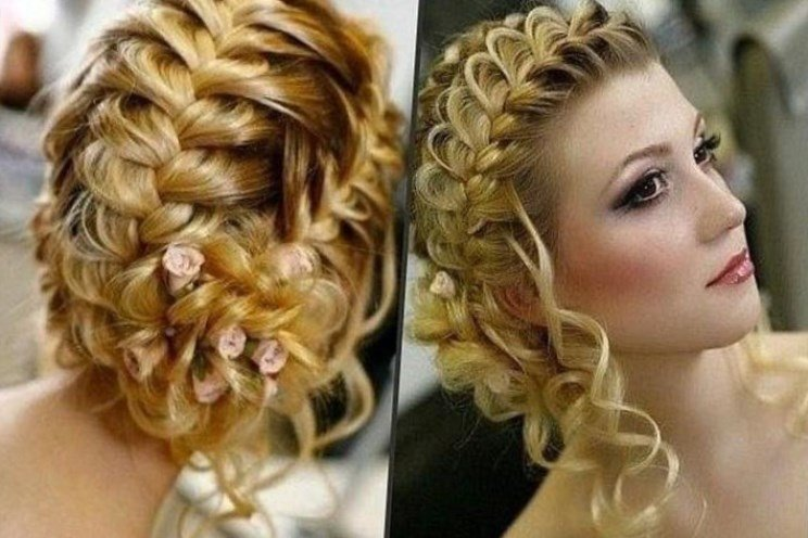 вечерние прически косы на средние волосы с челкой фото