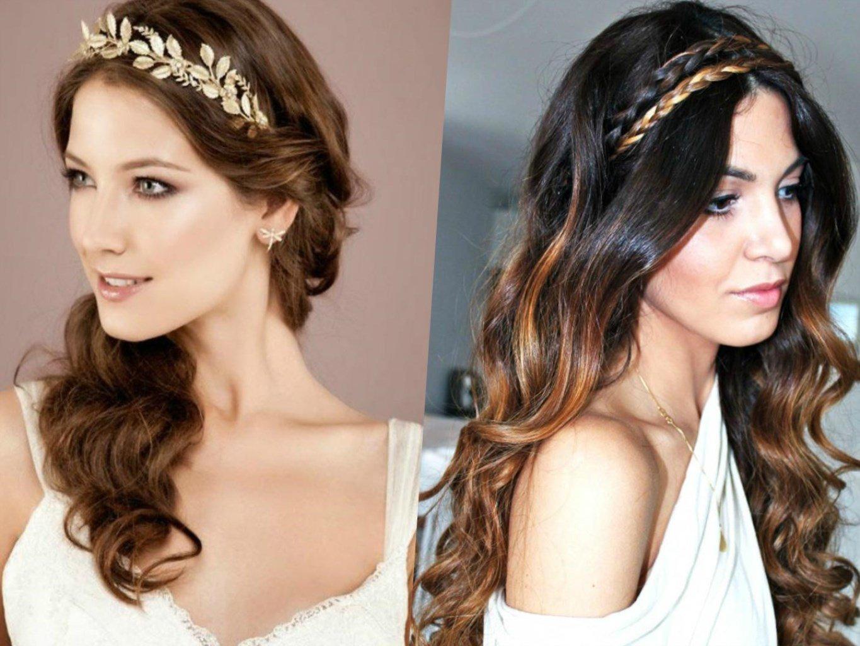 Греческая причёска с повязкой на длинные волосы с челкой фото