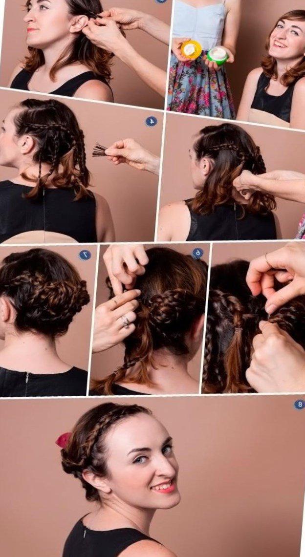 Причёски своими руками до плеч 2