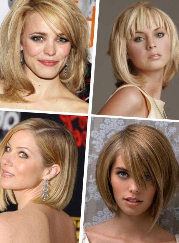 Прически для овального лица на средние волосы с челкой