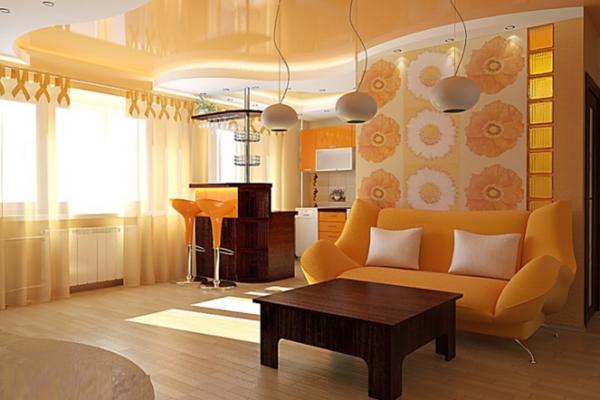 Дизайн маленькой комнаты совмещенной с кухней
