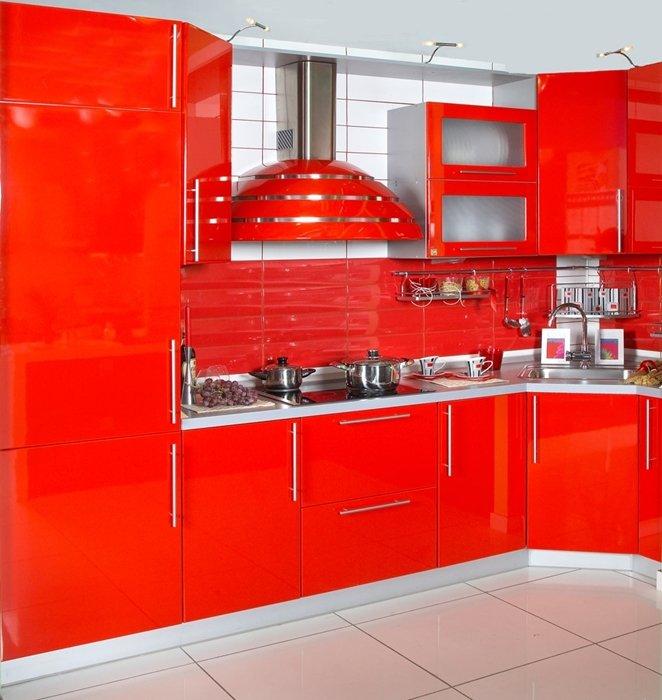 Какие обои под красную кухню