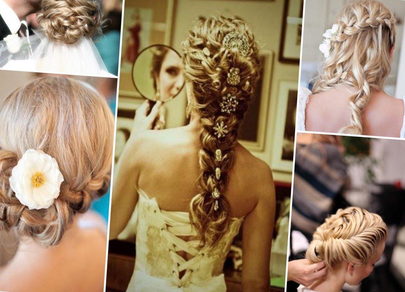 Свадебные прически с косой на длинные волосы фото
