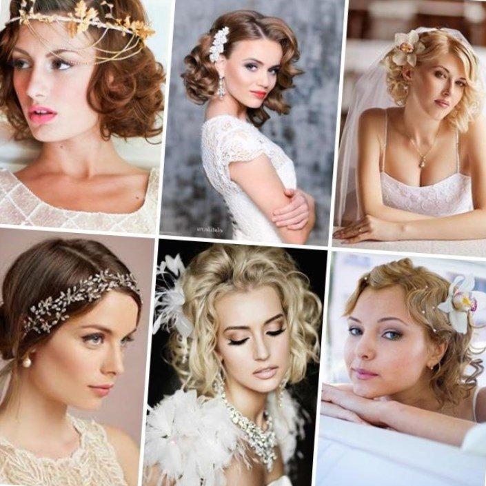 Свадебные прически на короткие волосы с заколкой