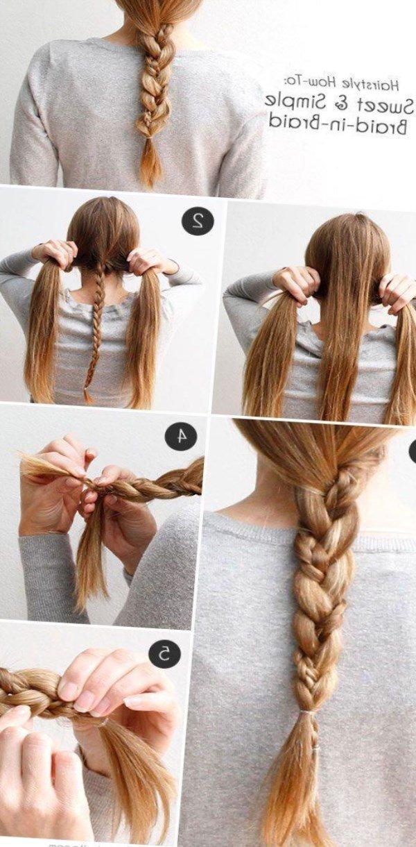 Как сделать косичку одну за волосами 336