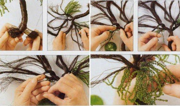 Как из бисера сделать иву своими руками
