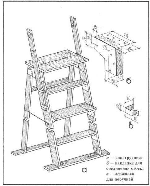 Лестница стремянка трансформер из дерева своими руками