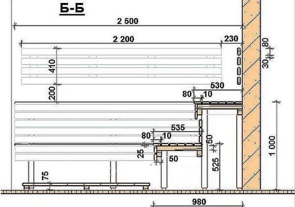 Как сделать полок для бани размеры 277