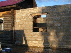 Пристрой к деревянному дому из газоблоков своими руками