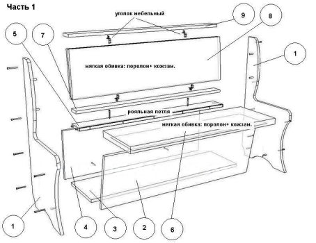 Схема сборки кухонных уголков своими руками 473