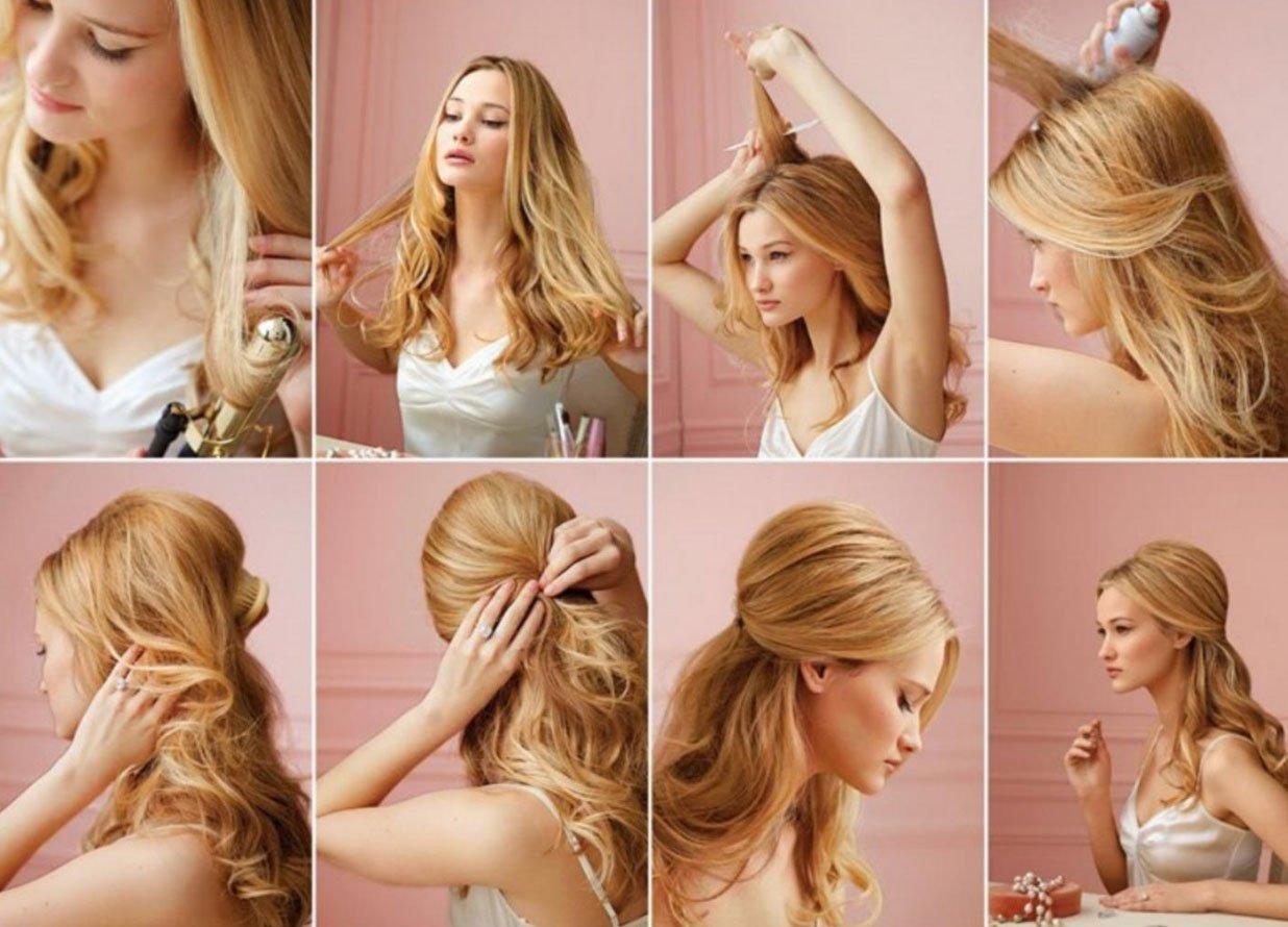 Прически для средней длины волос своими руками 40