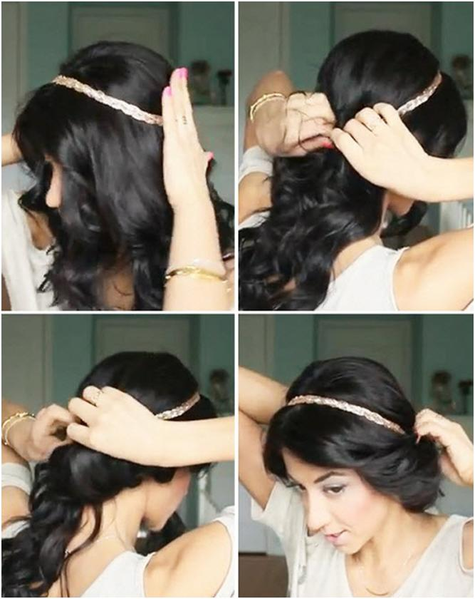 Прически с повязкой на средние волосы