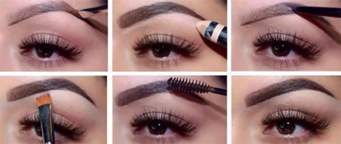 Как красить брови тенями для бровей пошагово