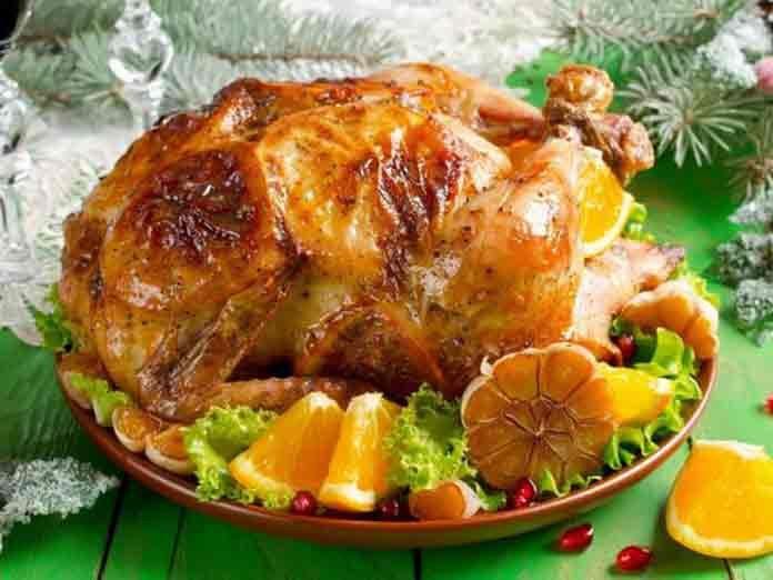 Куриные окорочка с апельсинами в духовке