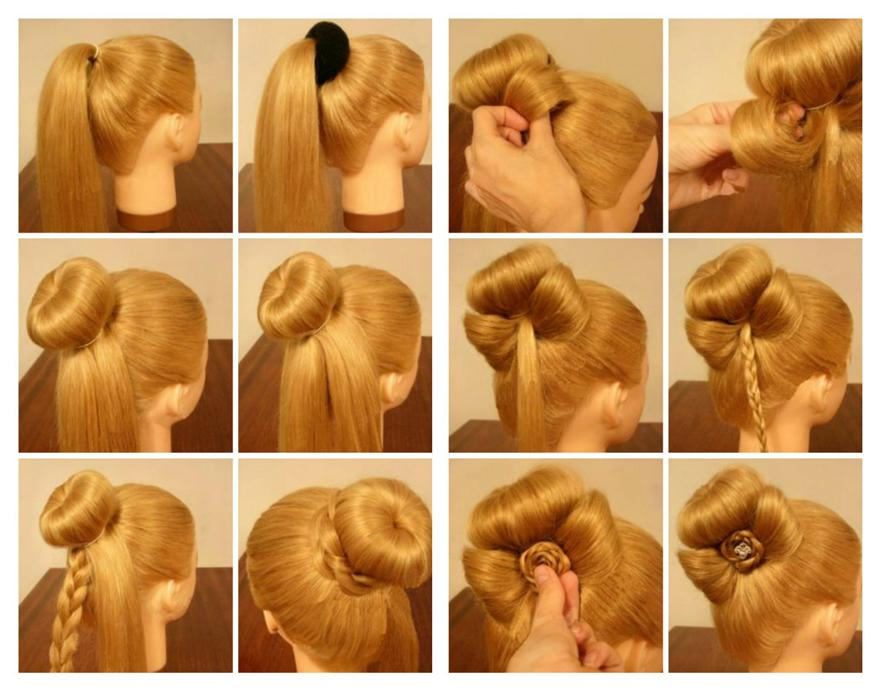 Делаем пучок из волос фото