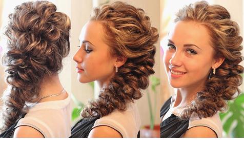 Прическа на длинные волосы собранные с элементами косы
