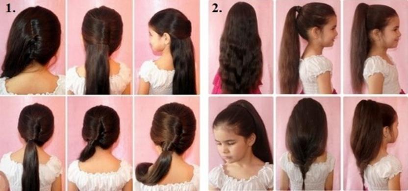 Лёгкие причёски для детей с длинными волосами