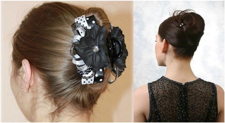 Прическа на средние волосы из крабиков