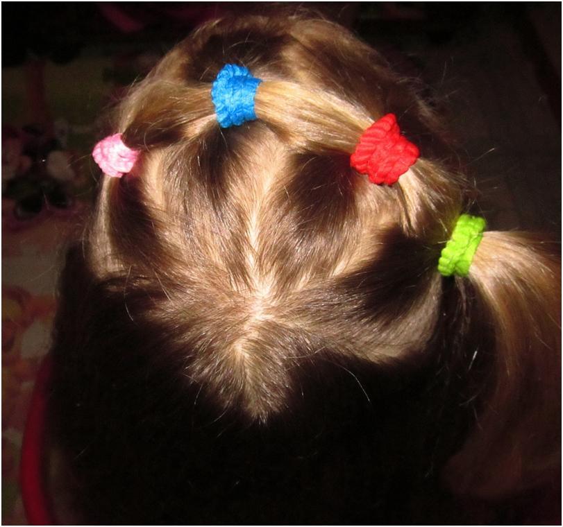 Прическа на маленькие волосы с резинками фото