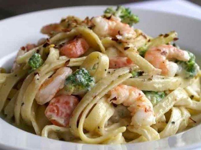 Рецепт спагетти с горбушей в сливочном соусе