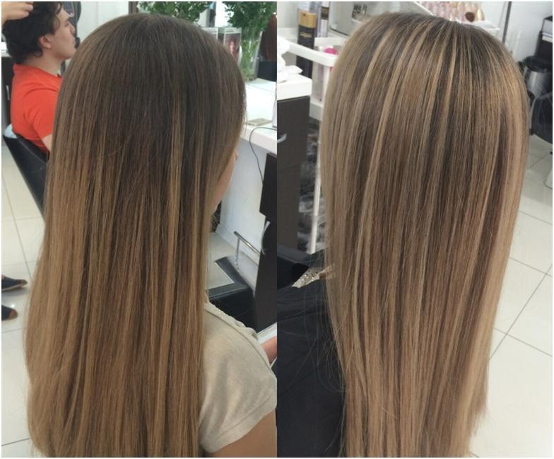 Мелирование тонких волос фото до и после
