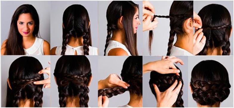 прическа своими руками на средние волосы с косами