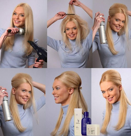Причёски на длинные волосы с начесом в домашних условиях своими руками 37