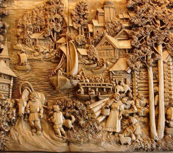 картини з дерева вирізання стамескою